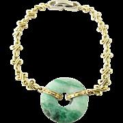 "SALE Vintage 14K White and Yellow Gold Jade Bracelet 7"""