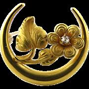 SALE Victorian 14K Yellow Gold and Diamond Honeymoon Daisy Pin Brooch