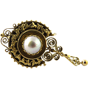 SALE Victorian Etruscan Revival 14K Yellow Gold and Mabe Pearl Pin Pendant