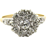 SALE Antique 14K White and Yellow Gold Edwardian Diamond Flower Top Ring, 4.5