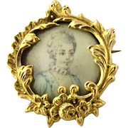SALE Antique 18K Yellow Gold Hand Painted Victorian Miniature Portrait Brooch Pin