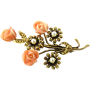 SALE Antique Victorian 14K Yellow Gold Carved Coral Roses and Pearl Flowers Brooch