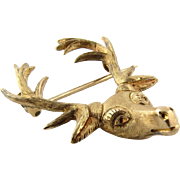 SALE Vintage Textured 14K Yellow Gold Stag Head Pin