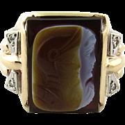 SALE Vintage 10K Yellow Gold Men's Cameo Roman Warrior Ring with Diamonds, Size 9.75