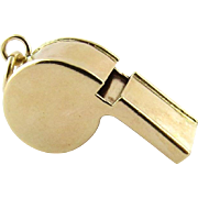 SALE Vintage 14K Yellow Gold 3-D Working Whistle Charm Pendant