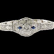 SALE Antique 14K White Gold and Platinum Art Deco Diamond Sapphire Filigree Bracelet, 6.5