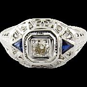 SALE Antique 14K White Gold Art Deco Diamond and Sapphire Filigree Dome Ring, Size 7.5