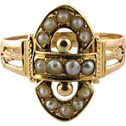 SALE Antique 14K Yellow Gold Victorian Seed Pearl Ring, Size 4.25