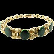 "SALE Vintage 14K Yellow Gold and Sliced Green Emerald Bracelet 6.25"" Bracelet Size"