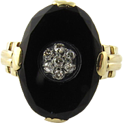 SALE Antique Victorian 10K Yellow Gold Black Onyx Diamond Ladies Ring Size 8.25