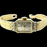SALE Rolex Ladies 14K Yellow Gold Diamond Vintage Watch Hand Winding Silver Dial