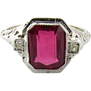 SALE Vintage 14K White Gold Ruby Diamond Filagree Ring Size 8