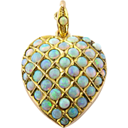 SALE Antique Victorian 10K Yellow Gold and Pave Opal Heart Pendant / Locket