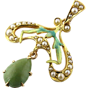 SALE Art Nouveau 14K Yellow Gold Enamel and Seed Pearl Jade Pendant