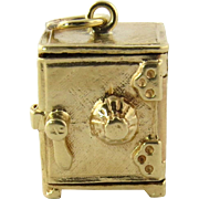 SALE Vintage 14K Yellow Gold 3D Standing Safe Charm with Opening Door and Folded Silver ...
