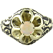 SALE Vintage 14K Yellow Gold Opal Floral Ring Size 7.75 Black Antiquing