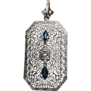 SALE Art Deco 10K White Gold Filagree Diamond Sapphire Pendant
