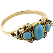 Antique Victorian 10K Yellow Gold Turquoise and Seed Pearl Ring, Size 6.25