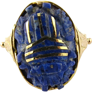 Vintage 18K Yellow Gold Egyptian Lapis Lazuli Scarab Ring with Gold Inlay, Size 4
