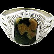 SALE Vintage 10K White Gold Connemara Green Marbleized Stone Ring Size 6.5