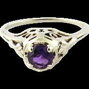 Vintage 14K White Gold Amethyst Filigree Ring Size 5.25