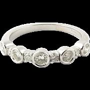 Vintage 14K White Gold Round Brilliant Diamond Ring Size 7