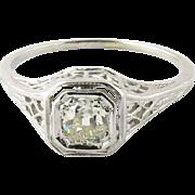 Antique 18K White Gold Filigree Old Mine Diamond Ring Size 7