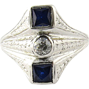 Antique Edwardian 18K White Gold Diamond and Sapphire Ring Size 8