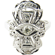 SALE Vintage Art Deco 14K White Gold Old Miner Diamond Ring Size 6 Cross Shaped