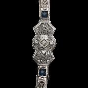 """SALE Vintage 14K White Gold Diamond and Sapphire Filigree Bracelet 6"""" bracelet size"""