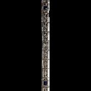 "SALE Vintage 14K White Gold Diamond and Sapphire Filigree Bracelet for 7"" wrist"