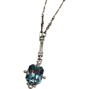 """SALE Vintage 14K White Gold Blue Topaz and Pearl Chain Link Necklace 16"""""""
