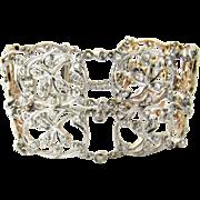 SALE Delicate Victorian Antique Design Platinum 18K Rose Gold Diamond Bracelet Floral Motif
