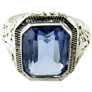 SALE Vintage 14K White Gold Blue Synthetic Topaz Ring Size 6