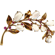 SALE Vintage 14K Yellow Gold Moonstone and Ruby Branch Floral Brooch