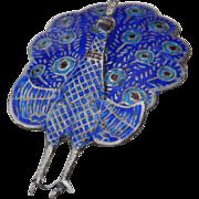 SALE SALE! Sterling Siam Enamel Peacock Pin Brooch Vintage