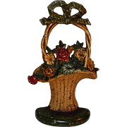 Antique Hubley Hand-Painted Cast Iron Floral French Basket Doorstop