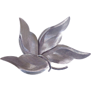 Huge Silver Tone Abstract Leaf Or Floral Statement Brooch