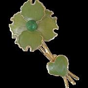 Green Enamel And Gold Tone German Flower Pin