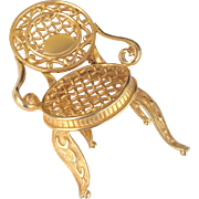 Fun Large Gold Tone Chair Brooch