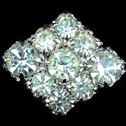 Vintage Diamond-Shaped Clear Rhinestone Pin