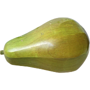Large Midcentury Wooden Green Pear
