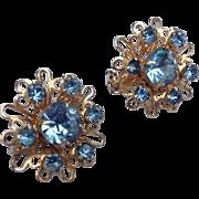 1950's to 60's Floral Starburst Pair of Pins With Cornflower Blue Rhinestones