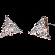Large Vintage Cubic Zirconia Triangle Post Earrings Set In Vermeil