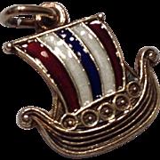 Sterling Vermeil Enamel Viking Ship Charm By Opro