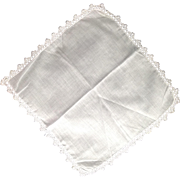 Fine Linen Handkerchief With Delicate Tatted Lace And Hand-Rolled Hem