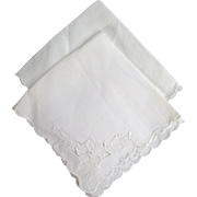 Pair Of Two Fine Linen Embroidered Cutwork Handkerchiefs In White