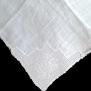 Beautiful Cutwork With Handmade Filet Crochet Handkerchief
