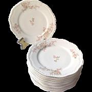 Antique Limoges France Salad / Bread / Dessert Plates Set of 10 By Lanternier With Pink Flower