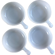 Set of 4 Vintage Handled White Milk Glass Bowls / Small Casseroles